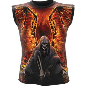 FLAMING DEATH  Allover Sleeveless T-Shirt Black