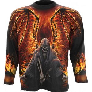 FLAMING DEATH  Allover Longsleeve T-Shirt Black