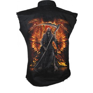 FLAMING DEATH - Sleeveless Stone Washed Worker Black
