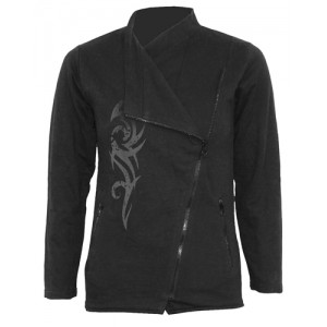 STAINED TRIBAL - Slant Zip Women Biker Jacket Black
