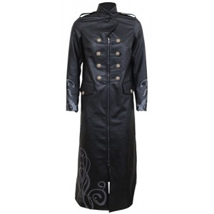 JUST TRIBAL - Women Gothic Trench Coat PU-Leather Corset Back