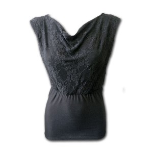 F WideNeck Lace layered Top