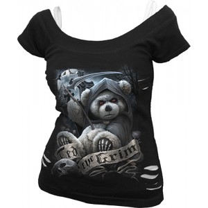 TED THE GRIM - TEDDY BEAR - 2in1 White Ripped Top Black