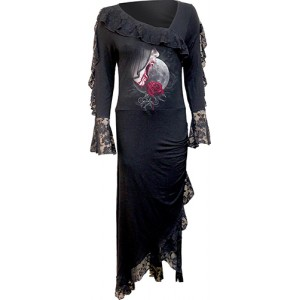 TEMPTRESS - Lace Drape Asymmetric Neck Gothic Dress
