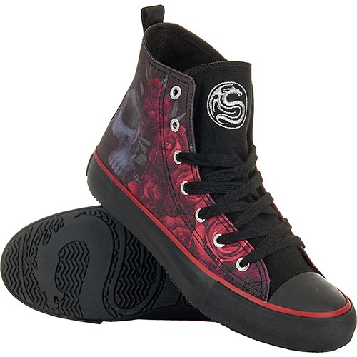 047445bae0d BLOOD ROSE - Sneakers - Ladies High Top Laceup - Black Rose