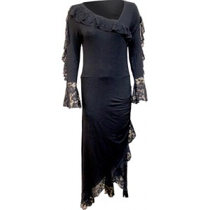 GOTHIC ELEGANCE - Lace Drape Asymmetric Neck Gothic Dress