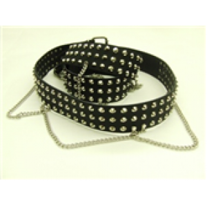 3 ROW CONICAL STUDDED LEATHER BELT WITH CHAIN
