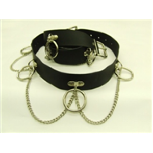 SID RING & D-PLATE LEATHER BELT WITH CHAIN