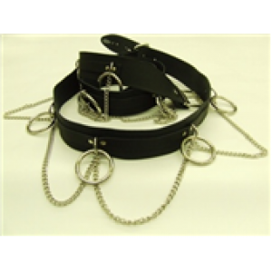 SID RING & STRAP LEATHER BELT WITH CHAIN