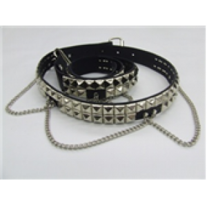 2 ROW PYRAMID STUDDED LEATHER BELT WITH CHAIN
