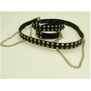 2 ROW CONICAL STUDDED LEATHER BELT WITH CHAIN