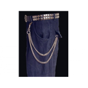 2 ROW HANGING CURB WALLET CHAIN (SMALL/MEDIUM)
