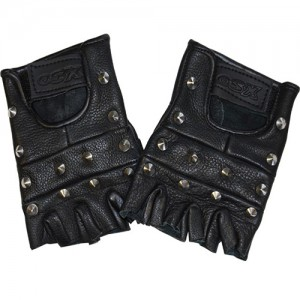 BLACK COLOUR STUDDED LEATHER FINGERLESS GLOVES