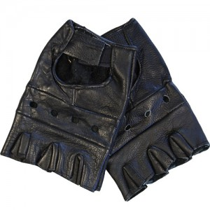 BLACK COLOUR PLAIN FINGERLESS LEATHER GLOVES