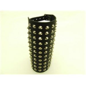 11 ROW CONICAL STUDDED LEATHER WRISTBAND
