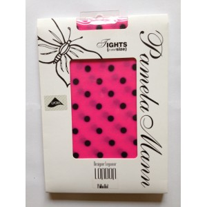 pamela mann pink black polka dots denier tights