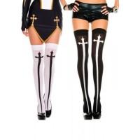 Gothic Cross Thigh High Stockings